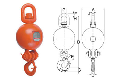 UB-550E Top Swivel Overhaul Balls with Crosby Eye Hook Diagram