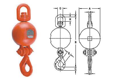 UB-550S Top Swivel Overhaul Balls with SHUR-LOC® Eye Hook Diagram