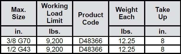 Ratchet Type Load Binder (CM) Specs 1