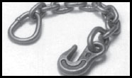Webbing Attachment Hardware Chain Anchor with Pear Shaped Ring, Unpainted 43366-12