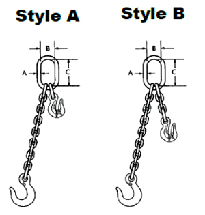 Herc-Alloy 1000 Adjustable Single Chain Slings Diagram