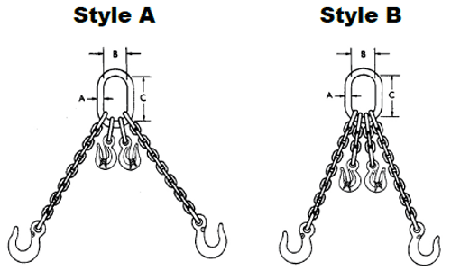 Herc-Alloy 1000 Adjustable Double Chain Slings Diagram