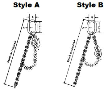 Herc-Alloy 1000 Adjustable Single Loop Chain Slings Diagram