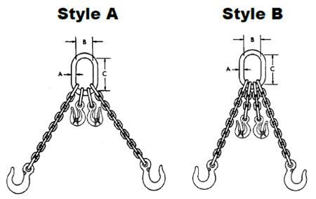 Herc-Alloy 800 Adjustable Double Chain Slings Diagram