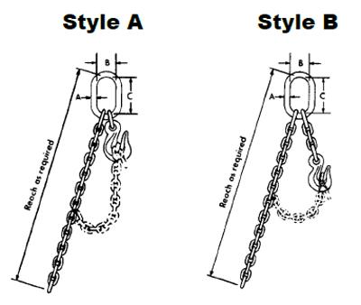 Herc-Alloy 800 Adjustable Single Loop Chain Slings Diagram