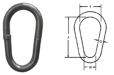 Herc-Alloy 800 Pear Shaped Master Links Diagram