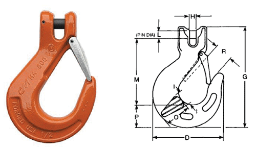 Herc-Alloy 800 Clevlok Sling Hook With Latch Diagram