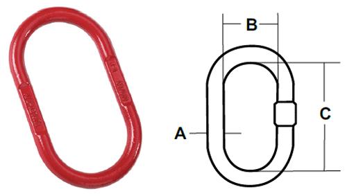 Accoloy® Kuplex® Oblong Master Links Diagram