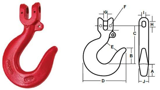 Kuplex® Clevis Sling Hooks Diagram