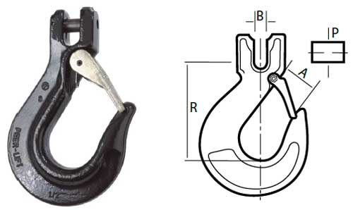 Peer-Lift Clevis Sling Hook With Latch Diagram