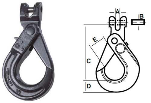 Peer-Lift Clevis Self-Locking Hook Diagram