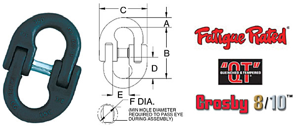 Grade 100 Lok-A-Loy® 10 Alloy Connecting Link Diagram