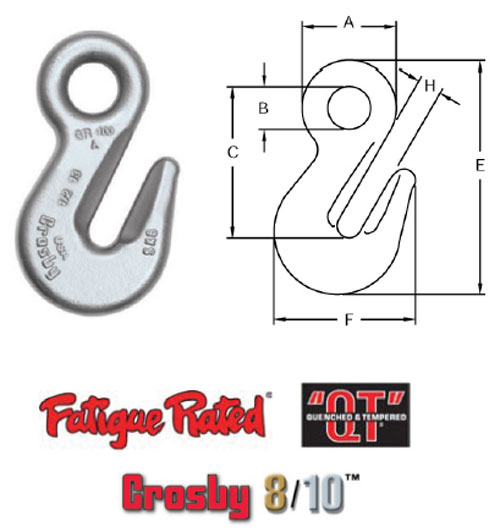 Grade 100 A-1328 Eye Grab Hook Diagram