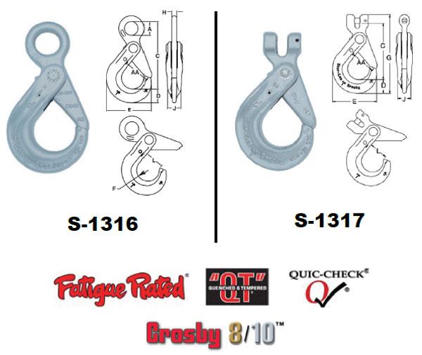 Grade 100 SHUR-LOC® Hooks (S-1316 Eye Hook / S-1317 Clevis Hook Diagram