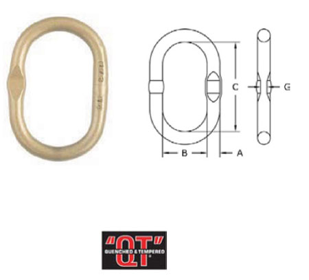 Grade 80 A-344 Welded Master Link with Engineered Flat Diagram