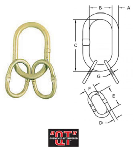 Grade 80 A-347 Welded Master Link Assembly with Engineered Flat Diagram