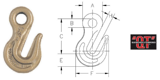 Grade 80 A-328 Eye Grab Hook Diagram