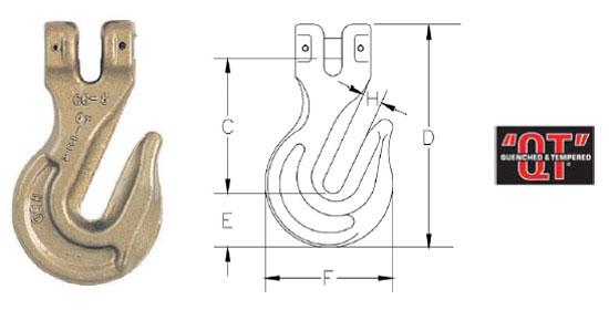 Grade 80 A-338 Clevis Grab Hook Diagram