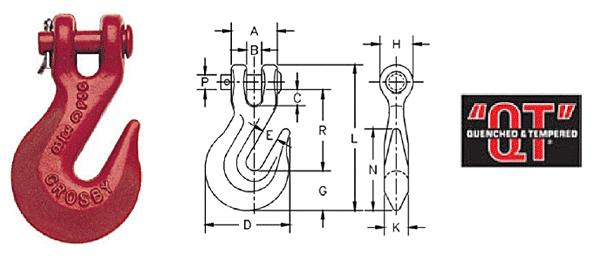 H-330 / A-330 Clevis Grab Hooks Diagram