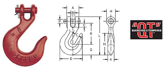 H-331 / A-331 Clevis Slip Hooks Diagram