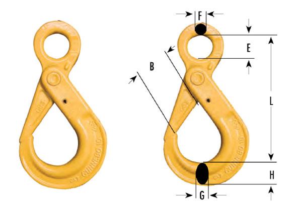 Eye Type Self-Locking Hooks Diagram