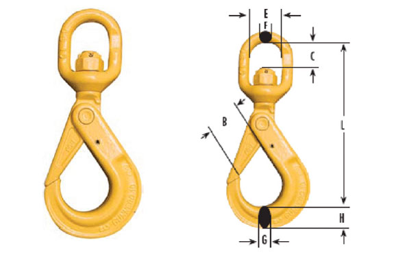 Swivel Bronze Bushing Self-Locking Hooks Diagram