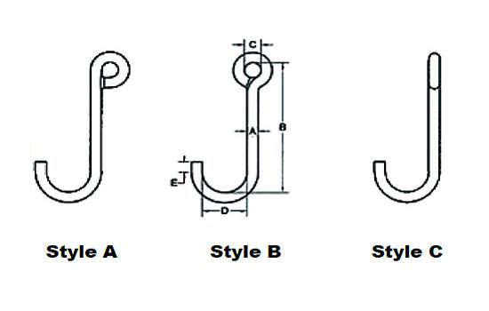 Standard Alloy J-Hooks Specs Diagram