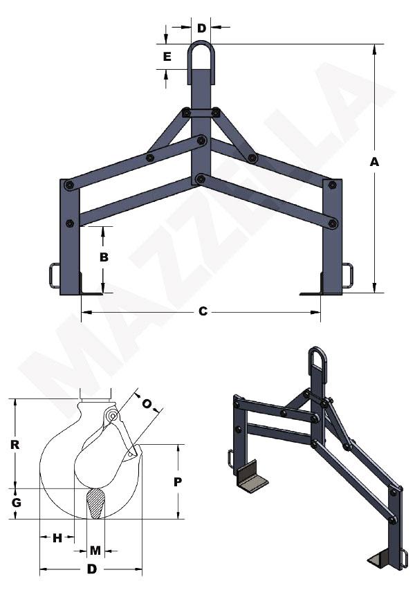 Below-The-Hook Design Sheet: Adjustable Style Lifting Tong