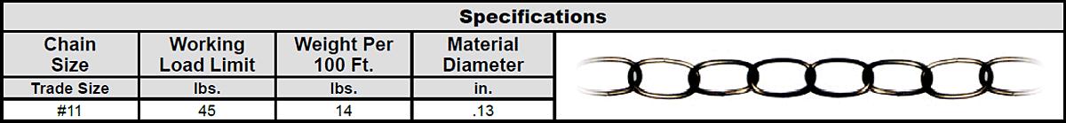 Weldless Decorator Chain Specs 1