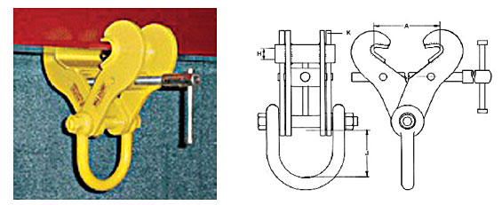 Model: Swivel Jaw Adjustable Girder Clamp One piece adjustable design Used for lifting, pulling as an anchor point Added benefit of horizontal jaw adjustment Full length / width of swivel jaw anchors on flange Integrated lifting shackle Positive Grip left / right threaded adjusting bar For use at up to 15° from vertical Approved for Personnel tie-off use (contact your Lifting Specialist for additional information) Diagram