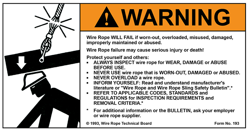 Wire Rope Technical Board Warning