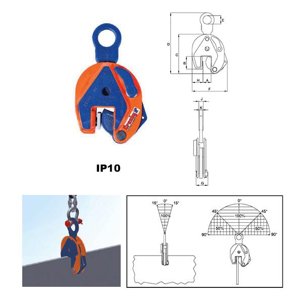 IP10 Vertical Clamps (Crosby) Diagram