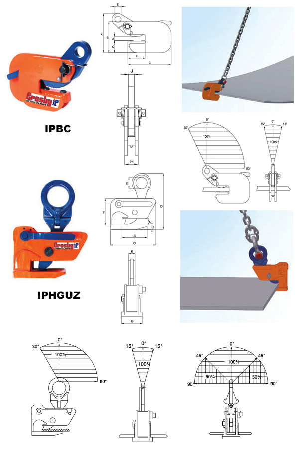 IPBC / IPHGUZ Horizontal Clamps (Crosby) Diagram