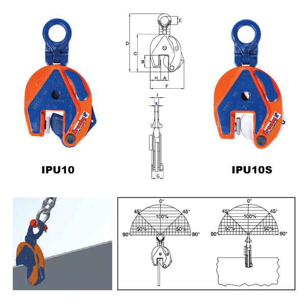 IPU10 Vertical Clamps (Crosby) Diagram