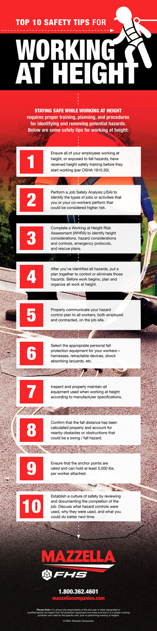 Top 10 Safety Tips For Working At Height Infographic