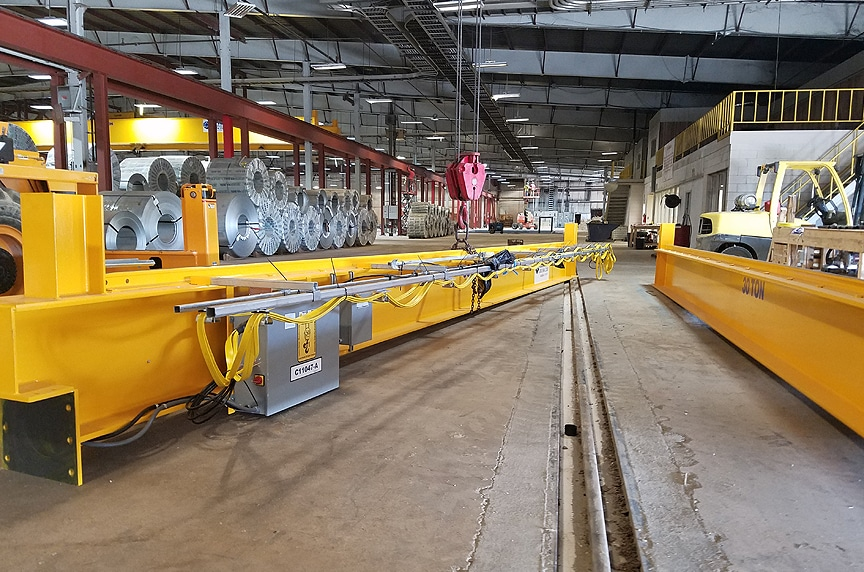 Buying New Vs. Used Overhead Crane: Crane Waiting to Be Installed