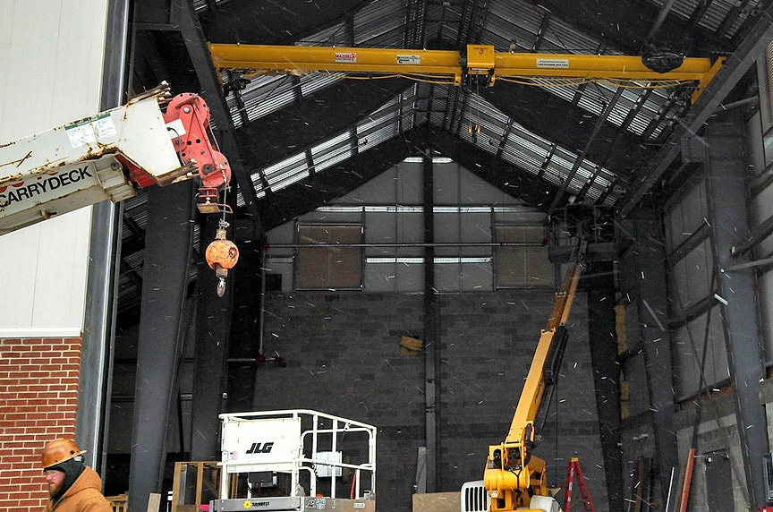 Installing an Overhead Crane in an Existing Building Structure: Crane Install Equipment