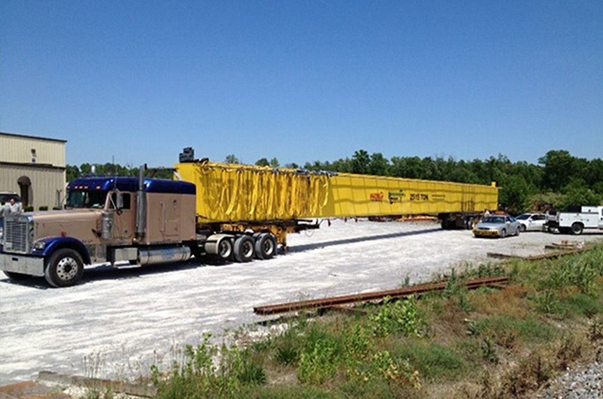 Installing an Overhead Crane in an Existing Building Structure: Crane on Flatbed