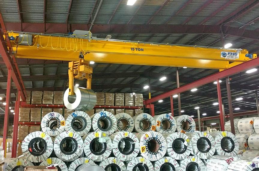 Overhead Cranes: Modular Cranes vs. Engineered Process Cranes: Engineered Crane with Coil Lifter