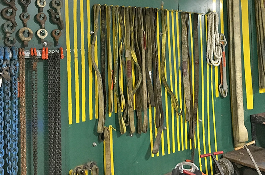 Sling Protection Basics: How to Maintain and Store Lifting Slings: Organized Sling Rack
