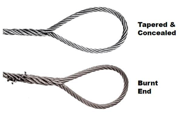 Single-Part Body Hand Spliced Wire Rope Slings: Tapered and Concealed and Burnt End