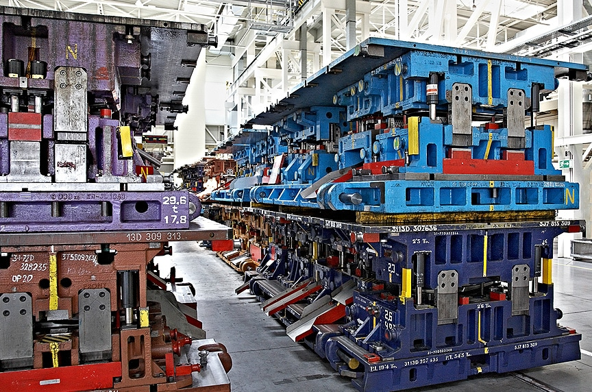 Lifting and Rigging Solutions for Die Handling and Automotive Stamping: Stamping Dies Stacked