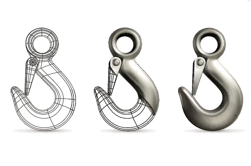 What are the Different Types of Lifting Hooks and Sling Hooks: Hook Rendering