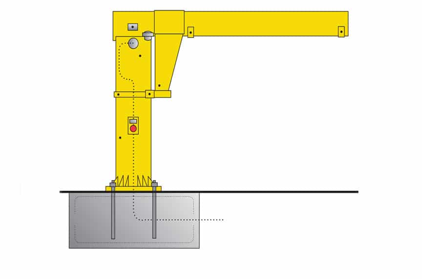 What are the Different Types of Overhead Cranes: Jib Crane Rendering