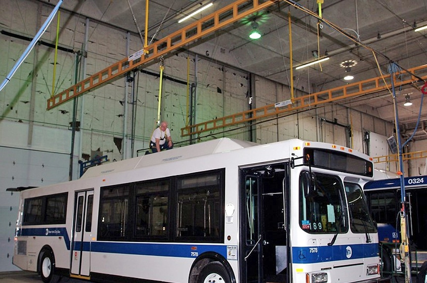 What is a Rigid Rail Fall Protection System? Different Types & Design: Ceiling Mounted Rigid Rail Monorail