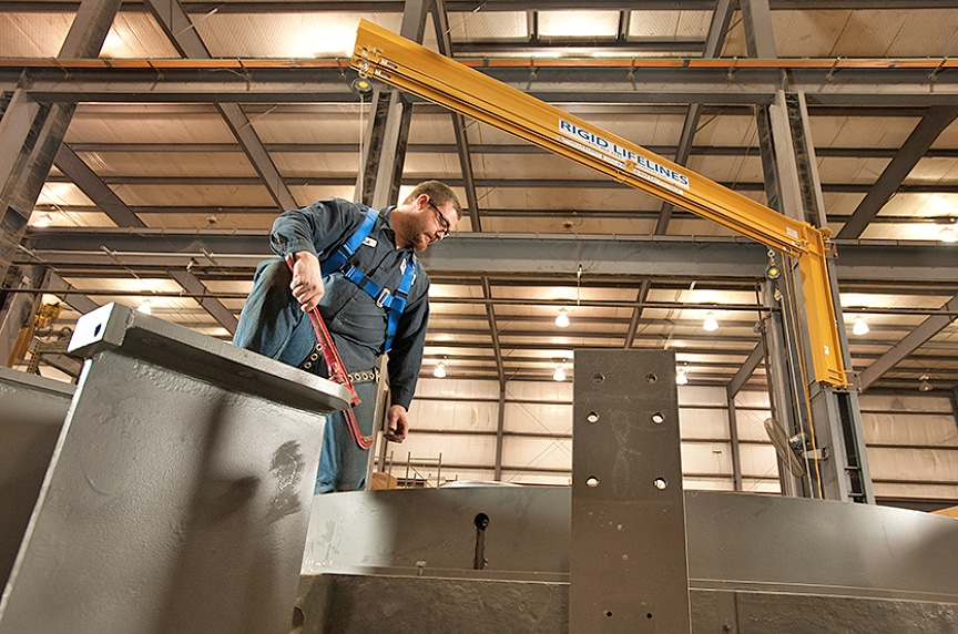 What is a Rigid Rail Fall Protection System? Different Types & Design: Swing Arm Rigid Rail Systems