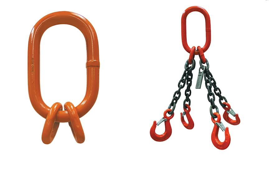 Master Links and Rings: Master Link Sub-Assembly Alone and On a Four-Leg Chain Sling