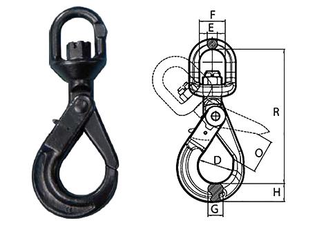 Peerless Peer-Lift Swivel Self-Locking Hook (Grade 80) Spec Drawing