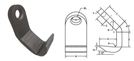 Peerless Standard Plate Hooks Specs Drawing
