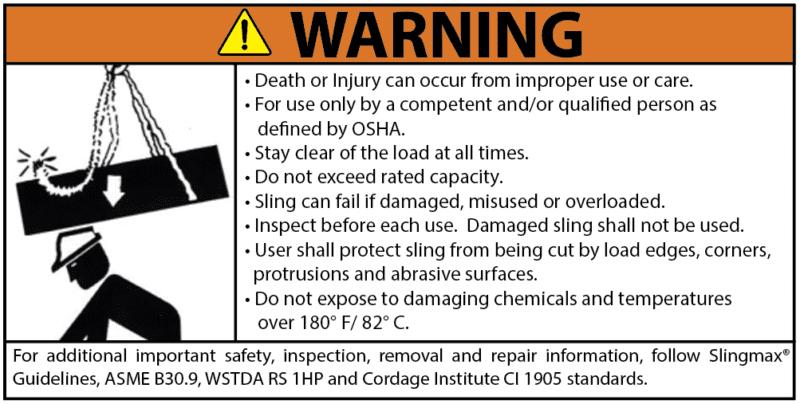 Sling-Max Roundsling Warning